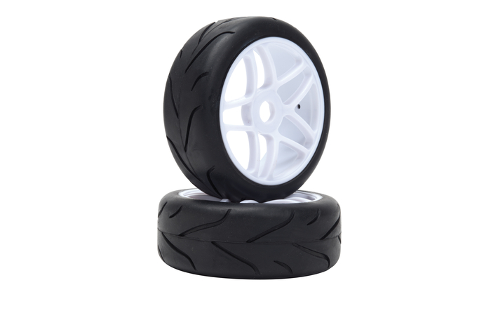 LRP65570 LRP Off Road Buggy Racing Slick Wheel Pre-mounted Street The on White Wheel (1 cp)