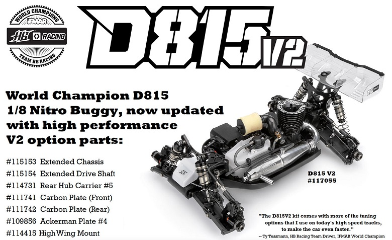 HB117055 Hot Bodies Racing Automodello D815 V2 1/8 Off-Road Competition Buggy