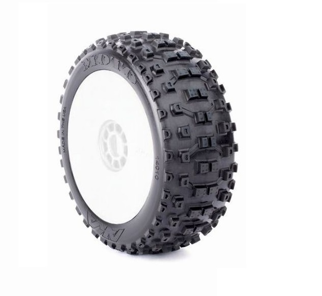 AKA14010XRW AKA Racing Pre-Mounted MOTO EVO LONG WEAR 1/8 Buggy Tires (Soft) (2)