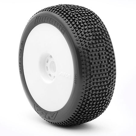 AKA14007XRW AKA Racing Pre-Mounted IMPACT Long Wear 1/8 Buggy Tires (Soft) (2)