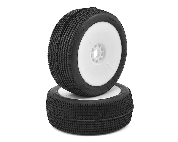 AKA14019ZRW AKA Racing Pre-Mounted DOUBLE DOWN Long Wear 1/8 Buggy Tires (Medium) (2)