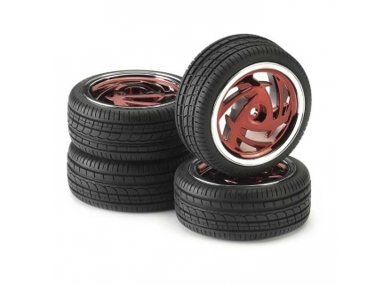 ANS211000033 Ansmann Kit 4 Gomme RONIN RED CROME 1:10