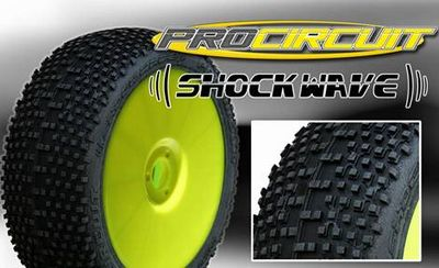PC1004-YB ProCircuit Gomme Off Road 1:8SHOCK WAVE Medium Incollate su Cerchio Giallo (4)