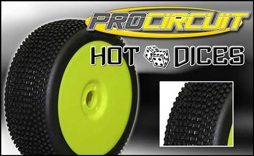 PCX1005-YP ProCircuit Nuove Gomme Off Road 1:8 HOT DICES Super Soft Incollate su Cerchio Giallo (4)