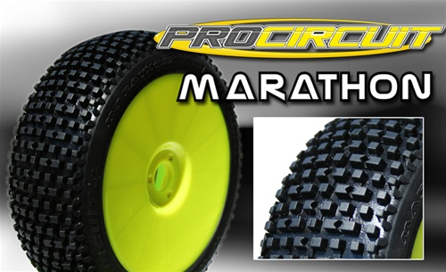 PC1001-YB ProCircuit Gomme Off Road 1:8 MARATHON Medium Incollate su Cerchio Giallo (4)