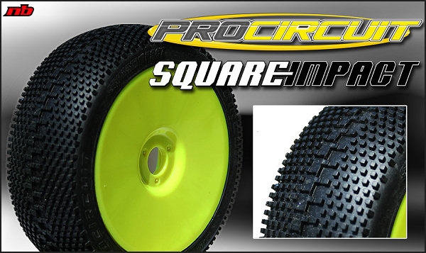 PC1002-YB ProCircuit Gomme Off Road 1:8 SQUARE IMPACT Medium Incollate su Cerchio Giallo (4)