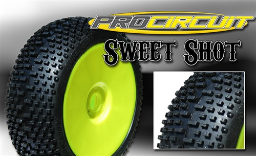 PCW1003-YP ProCircuit Gomme Off Road 1:8 SWEET SHOT Super Soft Incollate su Cerchio Giallo (4)